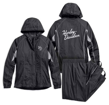 Harley-Davidson Women's Reflective Waterproof Rain Suit, Black 98204-17VW - Wisconsin Harley-Davidson
