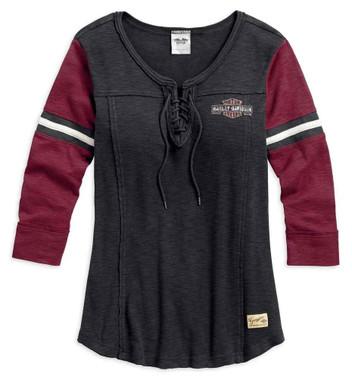 Harley-Davidson Women's Genuine Laced Neckline 3/4 Sleeve Shirt 99105-17VW - Wisconsin Harley-Davidson