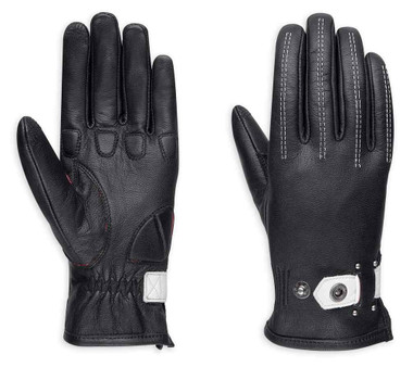 Harley-Davidson Women's Compass Full-Finger Leather Gloves, Black 98379-17VW - Wisconsin Harley-Davidson