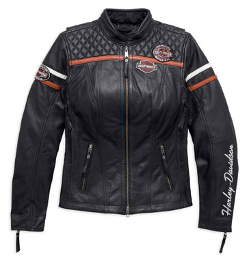 Harley-Davidson Women's Miss Enthusiast Triple Vent Leather Jacket 98134-17VW - Wisconsin Harley-Davidson