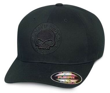 Harley-Davidson Men's Willie G Skull Stretch Baseball Cap, Black 99421-16VM - Wisconsin Harley-Davidson