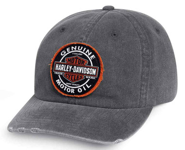 Harley-Davidson Men's Frayed Genuine Oil Patch Baseball Cap, Gray 99411-16VM - Wisconsin Harley-Davidson