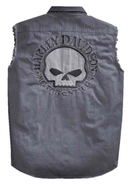 Harley-Davidson Men's Willie G Skull Sleeveless Blowout Shirt, Gray 99029-17VM - Wisconsin Harley-Davidson