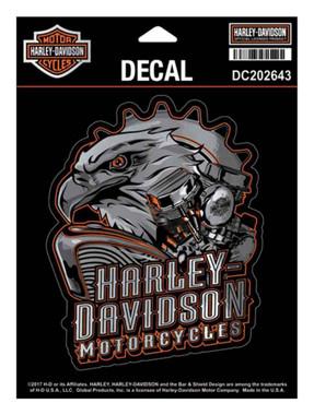Harley-Davidson Eagle Engine Ultra Decal, Chrome MD Size 4.375 x 5.5 in DC202643 - Wisconsin Harley-Davidson
