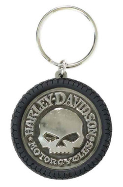Harley-Davidson Willie G Skull Hubcap Keychain, Nickel Plated & PVC KY102975 - Wisconsin Harley-Davidson
