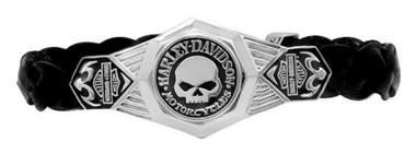 Harley-Davidson Men's Willie G Skull Leather Bracelet w/ Lobster Clasp HDB0373 - Wisconsin Harley-Davidson