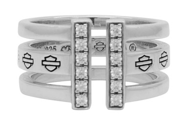 Harley-Davidson Women's Bling Bar & Shield Split Ring, Sterling Silver HDR0428 - Wisconsin Harley-Davidson