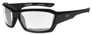 Harley-Davidson Men's Kicker Sunglasses, Clear Lens/Gloss Black Frame HAKIC03 - Wisconsin Harley-Davidson