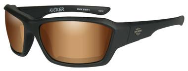 Harley-Davidson Men's Kicker Sunglasses, Bronze Flash Lens/Black Frame HAKIC06 - Wisconsin Harley-Davidson