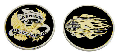 Harley-Davidson Live To Ride Eagle & Flames Challenge Coin, 1.75 in Coin 8007126 - Wisconsin Harley-Davidson