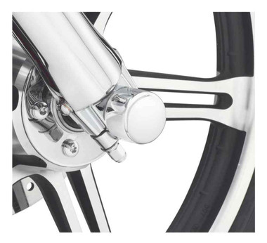 Harley-Davidson Front Axle Nut Covers, Die-Cast Chrome Finish 44117-07A - Wisconsin Harley-Davidson