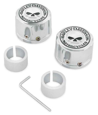 Harley-Davidson Willie G Skull Front Axle Nut Covers, Chrome Finish 43163-08A - Wisconsin Harley-Davidson