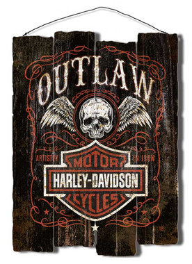 Harley-Davidson Outlaw Staggered Fence Cut-Out Wooden Sign Black CU91-OL-AD-HARL - Wisconsin Harley-Davidson