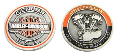 Harley-Davidson Knucklehead Bar & Shield Challenge Coin, 1.75 in Coin 8007089 - Wisconsin Harley-Davidson