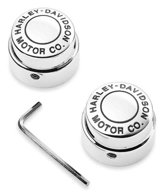 Harley-Davidson Motor Co. Front Axle Nut Covers, Chrome Finish 44148-07A - Wisconsin Harley-Davidson
