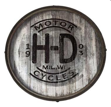 Harley-Davidson Distressed H-D Logo Wooden Barrel End w/ Metal Rim, BE-HD-HARL - Wisconsin Harley-Davidson