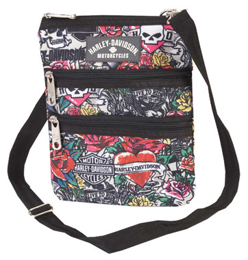 Harley-Davidson Women's  X-Body Crossbody Sling Purse, Tattoo Print 99616-TAT - Wisconsin Harley-Davidson