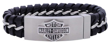Harley-Davidson Men's Hidden Clasp Bar & Shield Bracelet, Black HSB0182 - Wisconsin Harley-Davidson