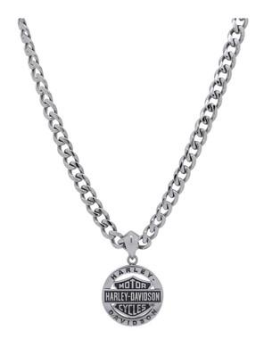Harley-Davidson Men's Stainless Steel Bar & Shield Circle Necklace HSN0041-22 - Wisconsin Harley-Davidson