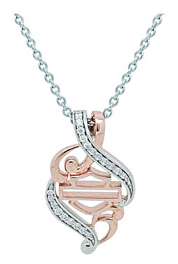 Harley-Davidson Women's Rose Gold & Silver Bling Filigree Necklace HDN0361-18 - Wisconsin Harley-Davidson