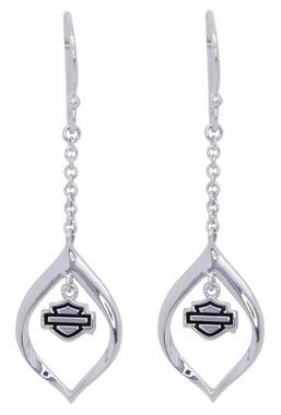 Harley-Davidson Women's Infinity Silver Drop Bar & Shield Earrings, HDE0438 - Wisconsin Harley-Davidson