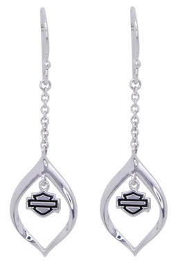 Harley-Davidson Women's Infinity Silver Drop Bar & Shield Earrings, HDE0438 - Wisconsin Harley-Davidson