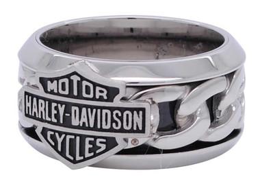 Harley-Davidson Men's Stainless Steel Chain Bar & Shield H-D Ring HSR0031 - Wisconsin Harley-Davidson