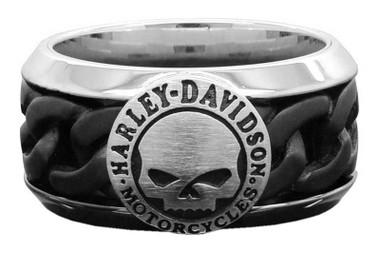 Harley-Davidson Men's Black Steel Chain Willie G Skull H-D Ring HSR0030 - Wisconsin Harley-Davidson