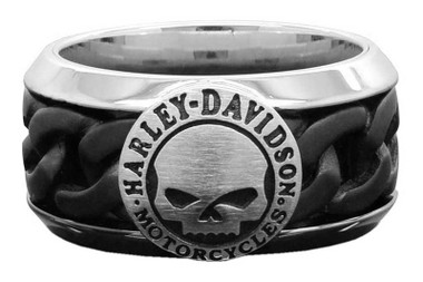 Harley-Davidson Men's Black Steel Chain Willie G Skull H-D Ring HSR0030 - Wisconsin Harley-Davidson