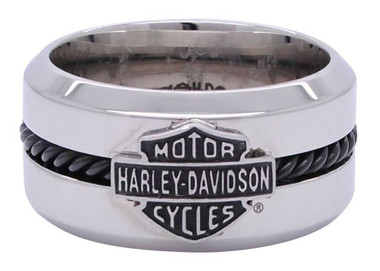 Harley-Davidson Men's Black Stainless Steel Wire Bar & Shield Ring HSR0032 - Wisconsin Harley-Davidson