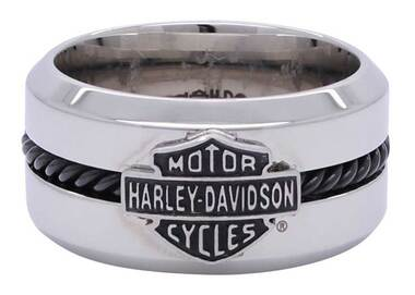 Harley-Davidson Men's Black Stainless Steel Wire Bar & Shield Ring HSR0032 - Wisconsin Harley-Davidson