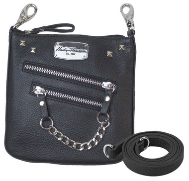 Harley-Davidson Women's Chain Gang Deluxe Leather Clipbag w/ Strap CG2351L-BLK - Wisconsin Harley-Davidson