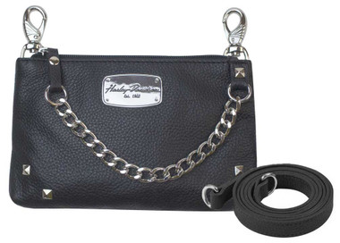 Harley-Davidson Women's Chain Gang Leather Hip Bag w/ Strap, Black CG2364L-BLK - Wisconsin Harley-Davidson