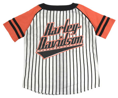 Harley-Davidson Big Boys' Striped B&S Raglan Baseball Jersey, White 1091715 - Wisconsin Harley-Davidson
