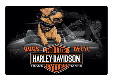 Harley-Davidson Dogs Get It Embossed Tin Sign, 17 x 11.5 inches 2011311 - Wisconsin Harley-Davidson