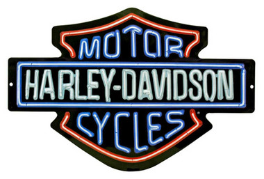 Harley-Davidson Neon Design Embossed Bar & Shield Tin Sign, 19 x 12 in 2011381 - Wisconsin Harley-Davidson