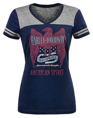 Harley-Davidson Womens Screamin' Eagle American Spirit Colorblock Tee HARLLT0204 - Wisconsin Harley-Davidson