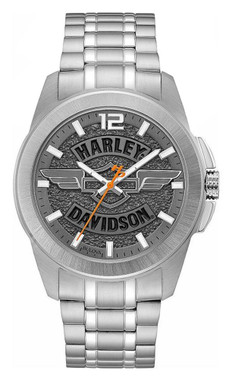 Harley-Davidson Men's Wing Bar & Shield Stainless Steel Watch, Slate Gray 76A157 - Wisconsin Harley-Davidson