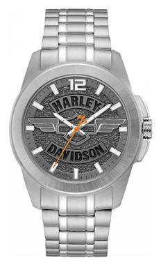 Harley-Davidson Men's Wing Bar & Shield Stainless Steel Watch, Slate Gray 76A157 - Wisconsin Harley-Davidson