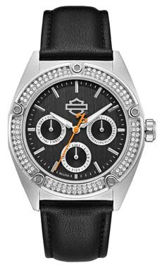 Harley-Davidson Women's Crystal Embellished Stainless Steel Case Watch 76N102 - Wisconsin Harley-Davidson