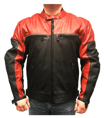 Redline Men's Racing Body Armor Premium Jacket, Two-Tone Cow Leather M-RBR - Wisconsin Harley-Davidson