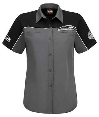 Harley-Davidson Women's Screamin' Eagle Shadow Crew Shirt, Gray HARLLW0011 - Wisconsin Harley-Davidson