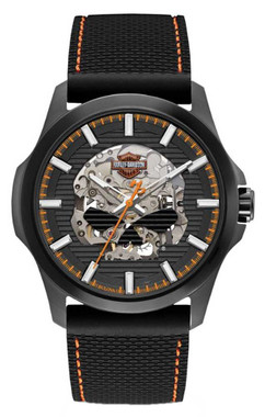Harley-Davidson Mens Willie Skull Self-Winding Stainless Steel Case Watch 78A118 - Wisconsin Harley-Davidson