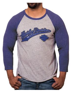 Harley-Davidson Men's Game Day H-D Raglan 3/4 Sleeve Shirt, Blue & Gray Heather - Wisconsin Harley-Davidson