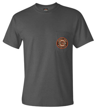 Harley-Davidson Mens Finest B&S Short Sleeve Chest Pocket T-Shirt, Smoke Gray - Wisconsin Harley-Davidson