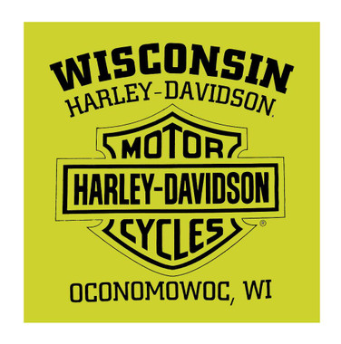 Harley-Davidson Men's Shakedown H-D Long Sleeve Crew-Neck Shirt, Safety Green - Wisconsin Harley-Davidson