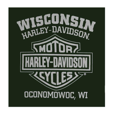 Harley-Davidson Men's Only One Short Sleeve Chest Pocket T-Shirt, Forest Green - Wisconsin Harley-Davidson
