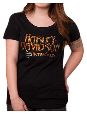 Harley-Davidson Women's Embellished Replicate Fire Short Sleeve Tee, Black - Wisconsin Harley-Davidson