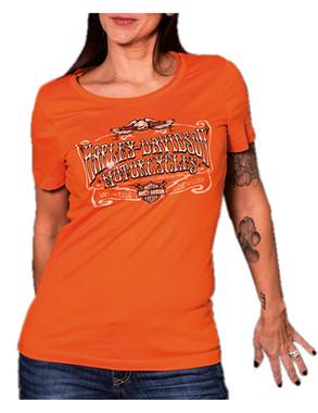 Harley-Davidson Women's Billboard Foil Short Sleeve Raw-Edge Tee, Tangerine - Wisconsin Harley-Davidson