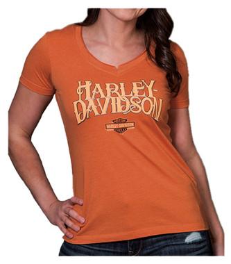 Harley-Davidson Women's Hustle Notched V-Neck Short Sleeve Tee, Orange - Wisconsin Harley-Davidson